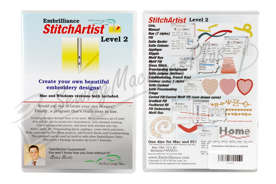 Stitchartist Level 2 Embroidery Design Software For Mac And Pc Sa210