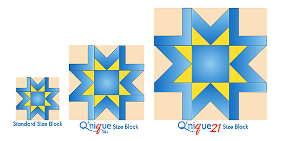 Q'nique quilt block sizes