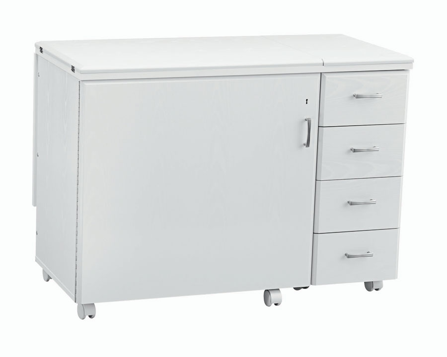 4 Drawer Cabinet with Drop Leaf - White