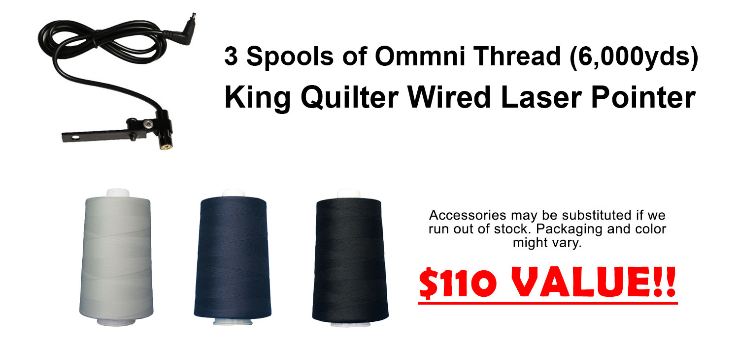 3 Spools of Ommni Thread (6,000yds) & King Quilter Wired Laser Pointer INCLUDED - $110 Value!!!