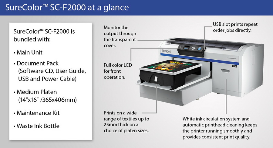 Epson surecolor f2000 series direct to garment printer for Epson t shirt printer