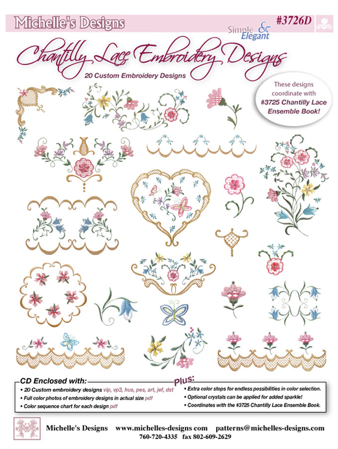 Michelles Designs Chantilly Lace Embroidery Designs 3726d
