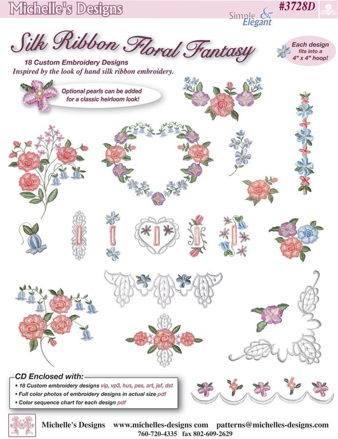 Michelles designs silk ribbon floral fantasy embroidery