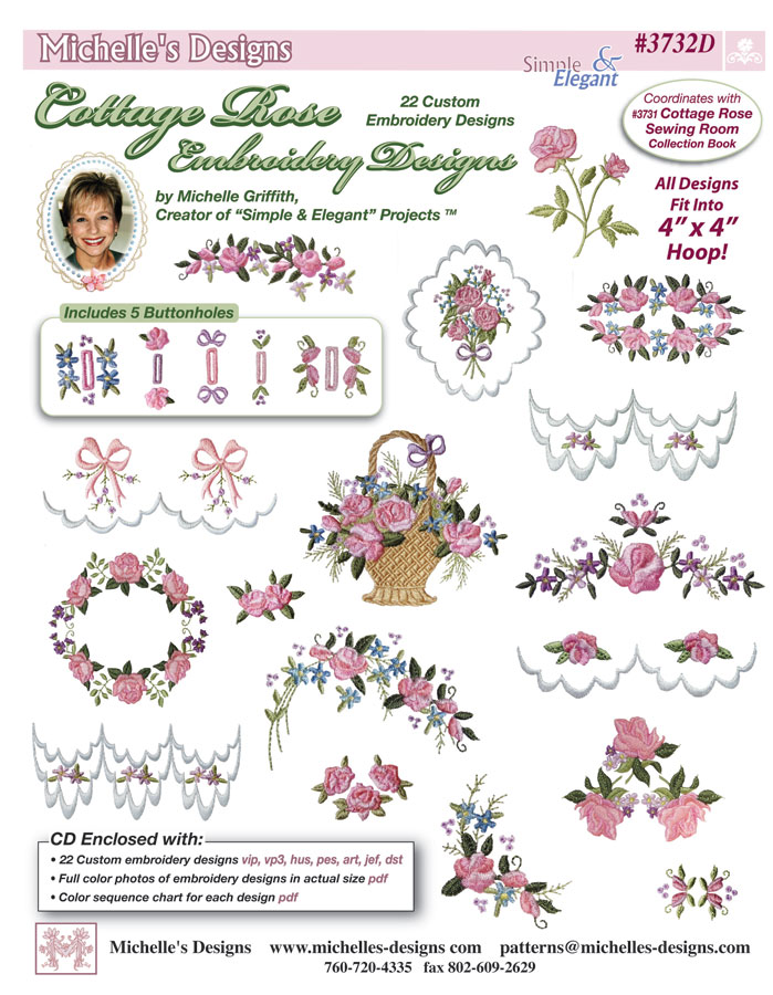 Michelles Designs - Cottage Rose Embroidery Design Collection (#3732D)