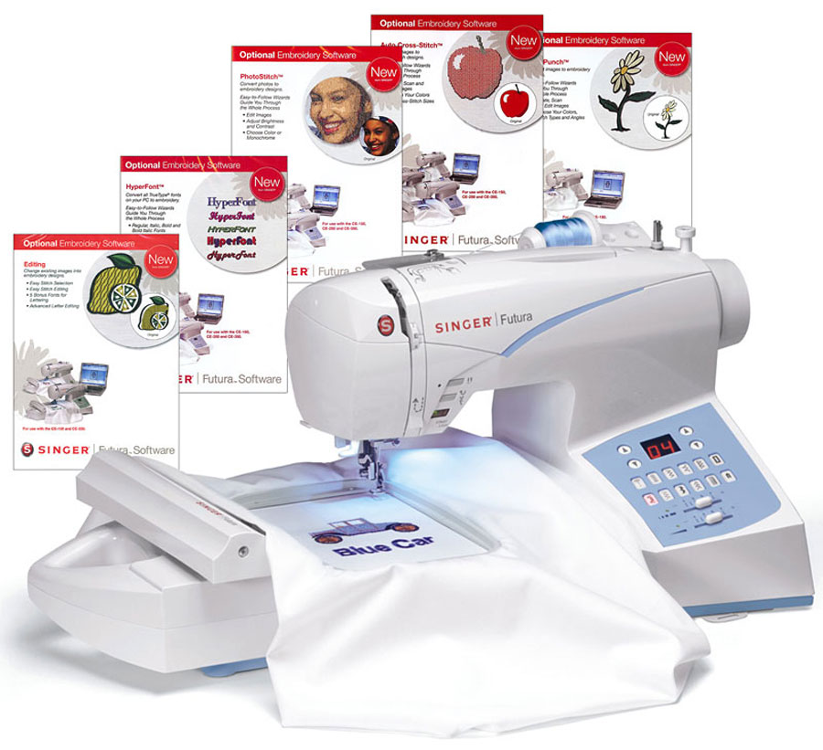 Singer Futura CE40 Embroidery Sewing Machine W Free Instructional Classy Singer Futura Ses1000 Embroidery Sewing Machine