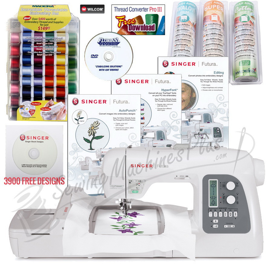 Singer Futura Xl 550 Embroidery Machine Software Free Kenmore Sewing Treading Diagrams W Bonus Package Stabilizer Thread